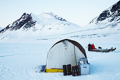 Overnight in the frozen fjord